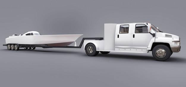 Camion Blanc Avec Une Remorque Pour Transporter Un Bateau De Course Sur Un Espace Gris. Rendu 3d. Photo Premium