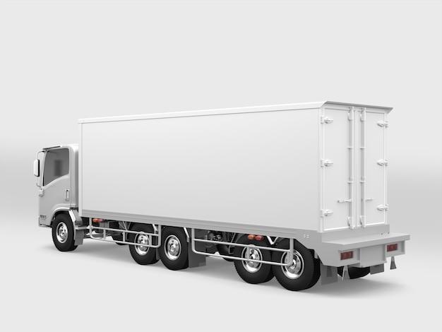Camion Cargo Blanc Sur Fond Blanc Photo Premium