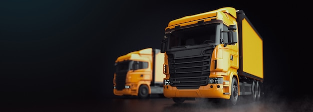 Le camion est sur un fond noir. Photo Premium