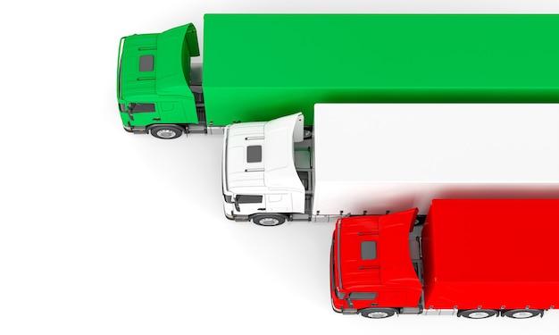 Camion De Fret Avec Drapeau Italien. Rendu 3d. Vue De Dessus Photo Premium