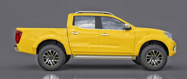 Camion de livraison de véhicule utilitaire jaune à double cabine Photo Premium