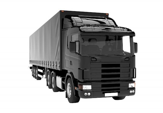 Camion noir isolé isolé sur blanc Photo Premium