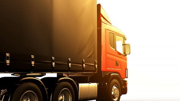 Camion rouge au coucher du soleil isolé ok un fond blanc Photo Premium