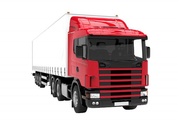 Camion rouge et blanc isolé isolé sur blanc Photo Premium