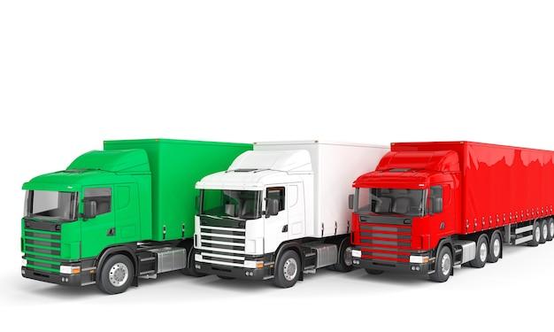 Camions Cargo Aux Couleurs Du Drapeau Italien Photo Premium