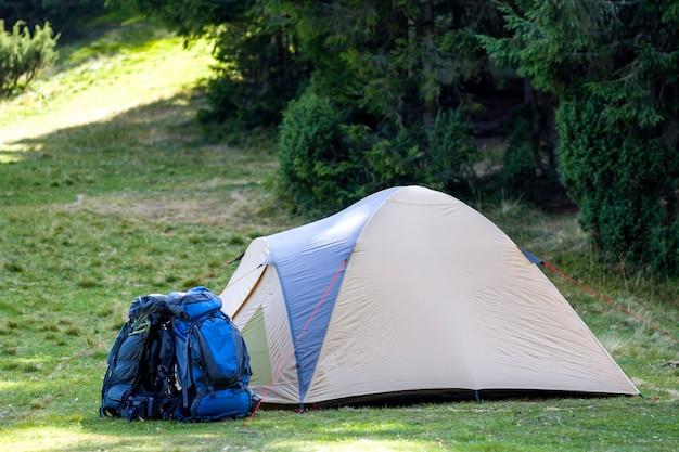 Camp Touristique Sur Le Pré Vert Avec De L'herbe Fraîche Dans La Forêt Des Carpates. Tente De Randonneurs Et Sacs à Dos Au Camping. Mode De Vie Actif, Activité De Plein Air, Vacances, Sports Et Loisirs. Photo Premium