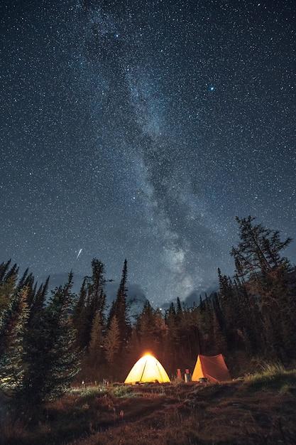Camping Dans La Forêt De Pins Avec Voie Lactée Et étoile Filante Au Parc Provincial Assiniboine Photo Premium