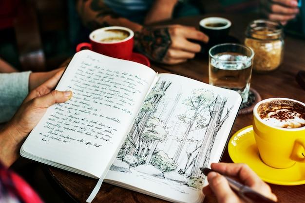 Camping écriture café concept de pause de vacances Photo Premium