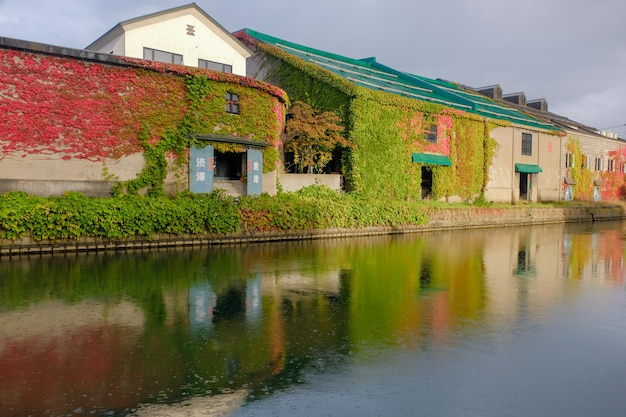 Canal d'otaru en automne, bâtiment du patrimoine. monument de hokkaido, japon Photo Premium