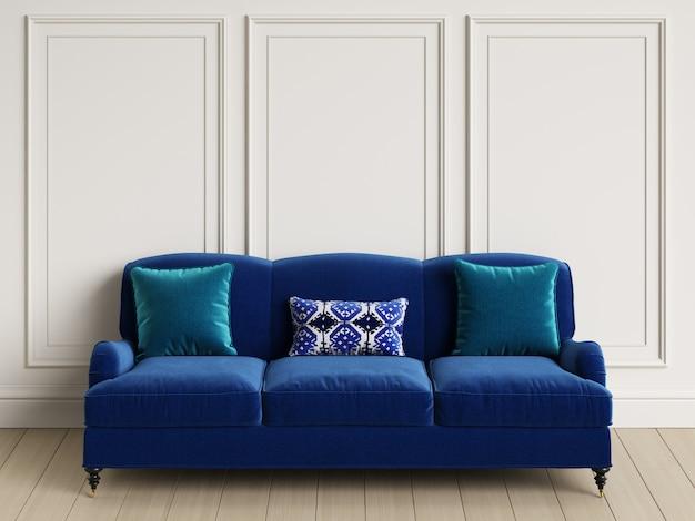 Canapé Bleu Classique Dans Un Intérieur Classique Photo Premium