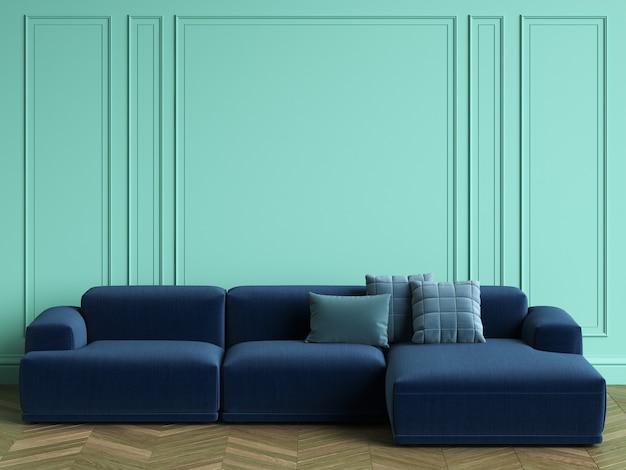 Canapé Bleu Dans Un Intérieur Classique Avec Espace Copie. Murs De Couleur Turquoise Avec Moulures. Parquet Au Sol à Chevrons. Rendu 3d Photo Premium