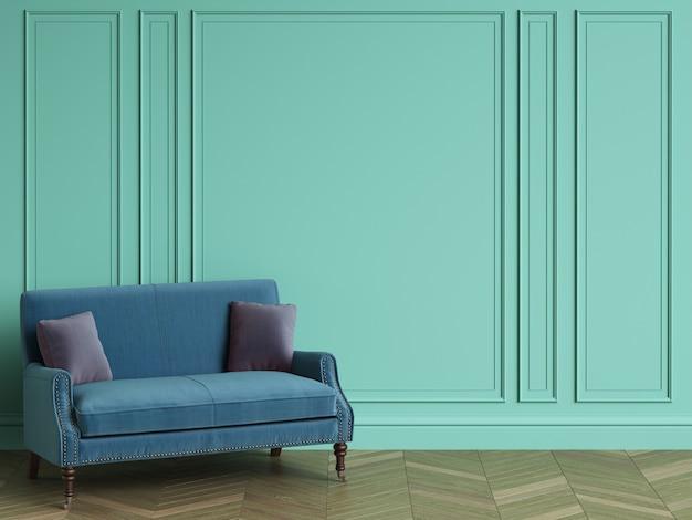 Canapé Bleu Avec Des Oreillers Violets Dans Un Intérieur Classique Avec Espace Copie. Murs De Couleur Turquoise Avec Moulures. Parquet Au Sol à Chevrons. Rendu 3d Photo Premium