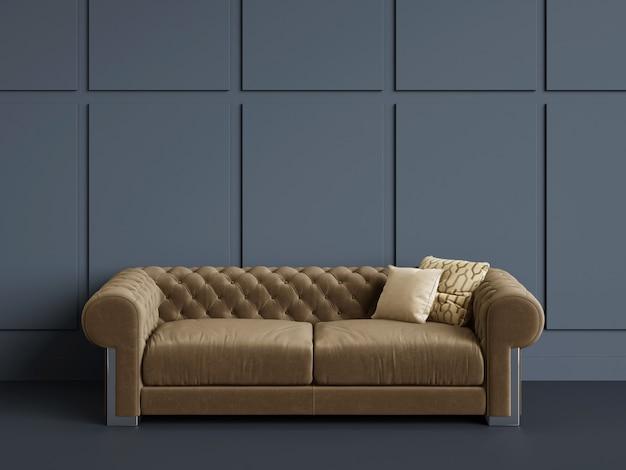 Canapé Capitonné Classique Dans Une Pièce Vide Avec Des Murs Bleus.concept Minimal Photo Premium