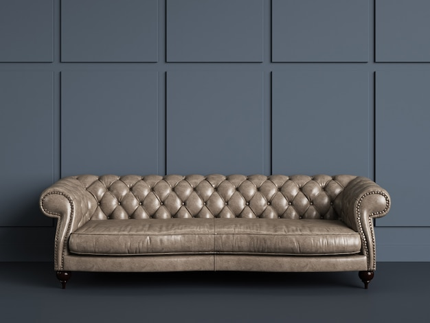 Canapé Capitonné Classique Dans Une Pièce Vide Avec Des Murs Gris Bleu.concept Minimal Photo Premium