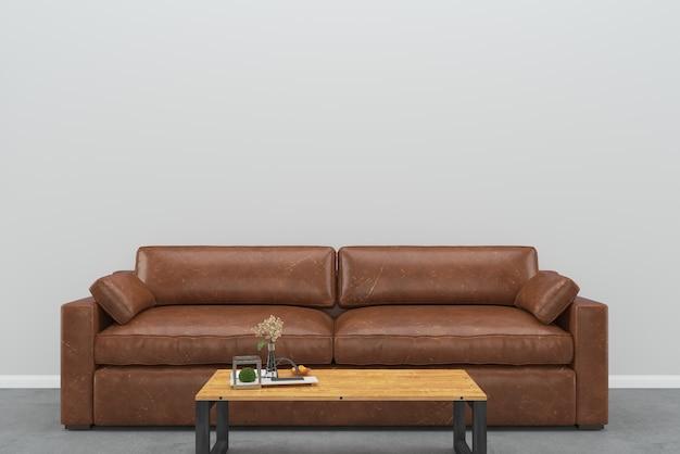 Canapé en cuir marron mur gris table en bois plancher en ...