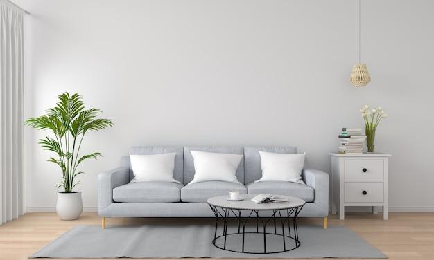 Canapé gris dans le salon blanc Photo Premium