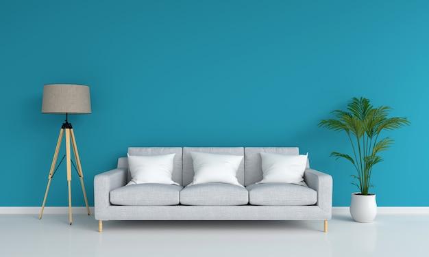 Canapé gris dans le salon bleu pour maquette Photo Premium