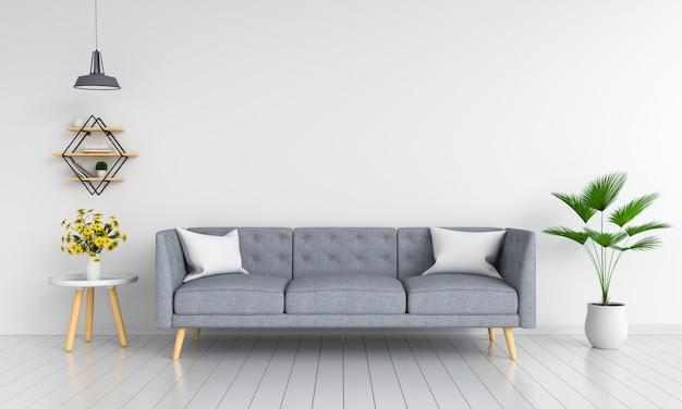 Canapé Gris Dans Le Salon Pour Maquette Photo Premium
