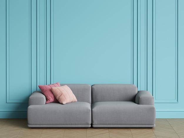 Canapé Gris Design Scandinave Moderne à L'intérieur. Murs Bleus Avec Moulures, Parquet à Chevrons. Espace Copie, Rendu 3d Photo Premium