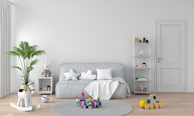 Canapé gris à l'intérieur de la chambre d'enfant blanc Photo Premium