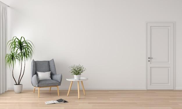 Canapé Gris à L'intérieur Du Salon Blanc Pour Maquette Photo Premium