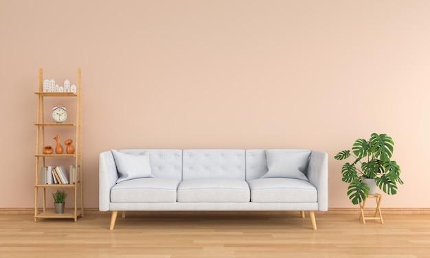 Canapé gris et plante verte dans le salon marron Photo Premium