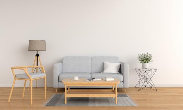 Canapé gris et table en bois dans le salon blanc ...