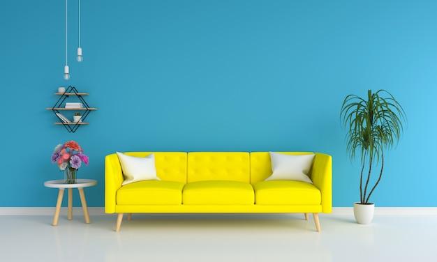 Canapé jaune dans le salon bleu pour maquette Photo Premium