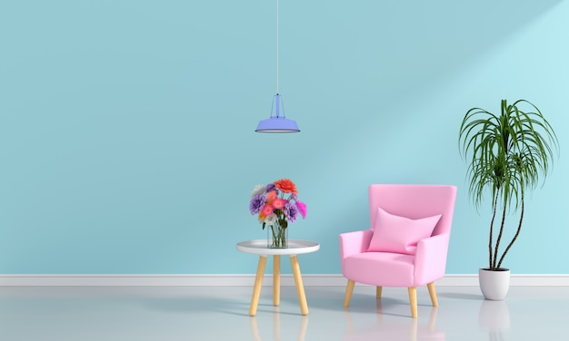 Canapé rose dans le salon bleu clair pour maquette Photo Premium