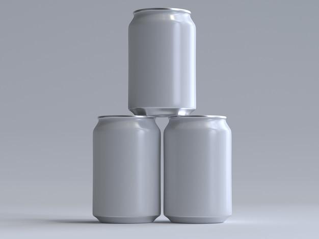 Canette de soda à rendu 3d sans étiquette Photo Premium