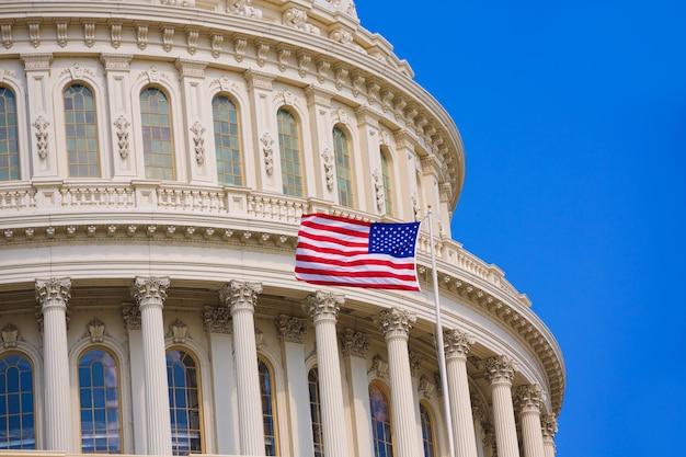 Capitole, drapeau américain de washington dc usa Photo Premium