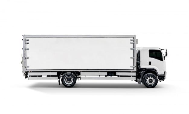 Cargaison de transport blanche ou remorque de voiture auto conteneur Photo Premium