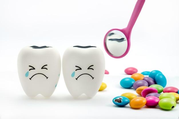 La carie dentaire pleure avec miroir dentaire et chocolat enrobé de sucre sur le côté. sur blanc Photo Premium