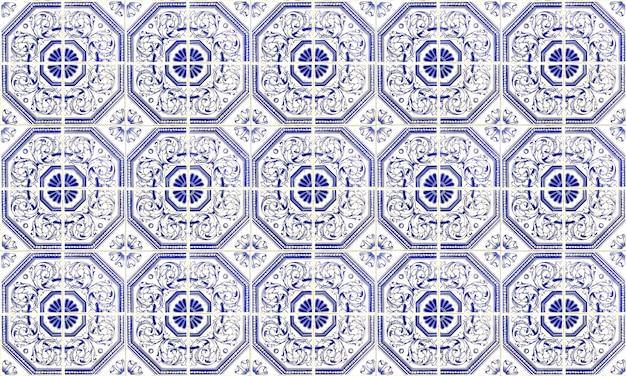 Carreau Azulejo Sans Soudure Portugal Ou Espagne. Haute Résolution. Photo Premium
