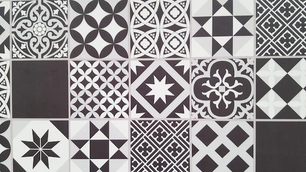 Carreaux portugais modèle carreaux noir et blanc sans couture de lisbonne Photo Premium