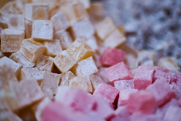 Carrés de fruits avec du sucre Photo gratuit