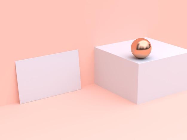 Carte blanche de papier maquette maquette de la crème minimale rendu 3d Photo Premium