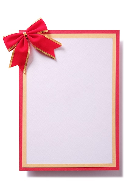 Carte-cadeau de noël, arc rouge, bordure dorée verticale Photo gratuit