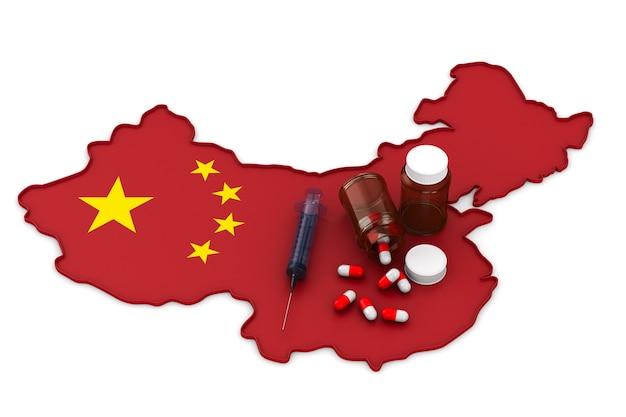 Carte De La Chine Sur Blanc Photo Premium