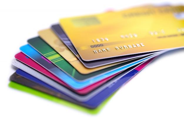 Carte de crédit sur fond blanc Photo Premium