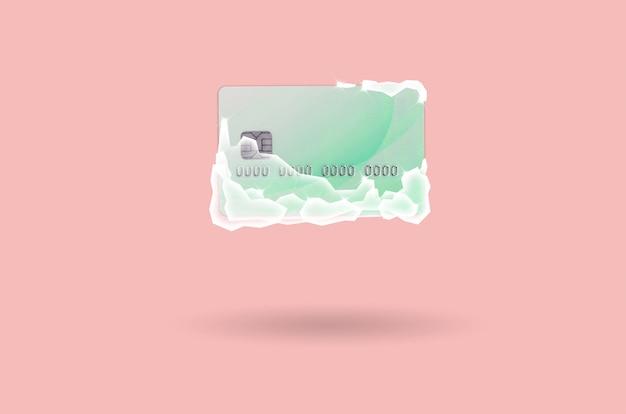 Carte de crédit verte gelée en blocs de glace blanche Photo Premium