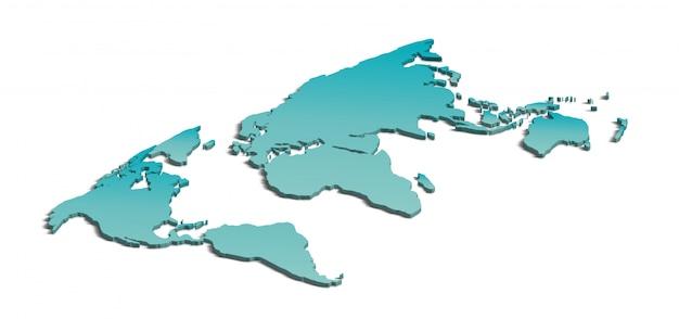 Carte du monde 3d sur blanc Photo Premium