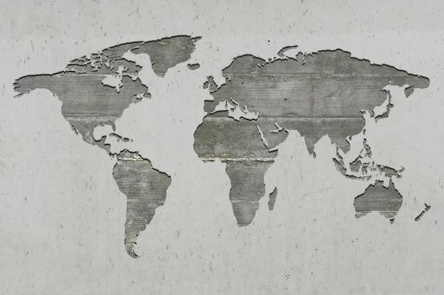 Carte du monde sur béton armé Photo Premium