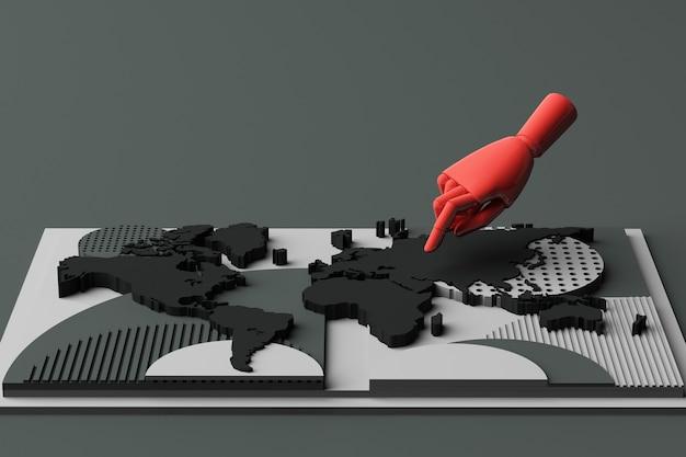 Carte Du Monde Avec Composition Abstraite De Concept De Main De L'homme De Plates-formes De Formes Géométriques Dans Le Ton Noir. Rendu 3d Photo Premium