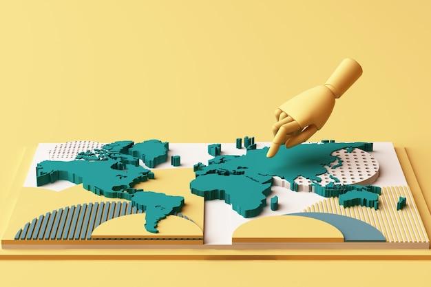 Carte Du Monde Avec Composition Abstraite De Concept De Main De L'homme De Plates-formes De Formes Géométriques Dans Les Tons Jaune Et Vert. Rendu 3d Photo Premium