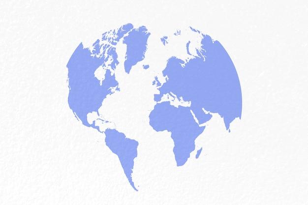 Carte du monde sur fond bleu pastel Photo Premium