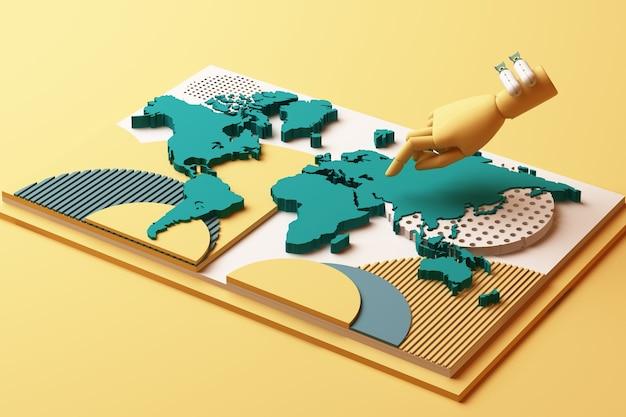 Carte Du Monde Avec La Main De L'homme Et La Composition Abstraite Du Concept De Bombe De Plates-formes De Formes Géométriques Dans Les Tons Jaune Et Vert. Rendu 3d Photo Premium