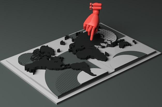 Carte Du Monde Avec La Main De L'homme Et La Composition Abstraite Du Concept De Bombe De Plates-formes De Formes Géométriques En Ton Noir. Rendu 3d Photo Premium