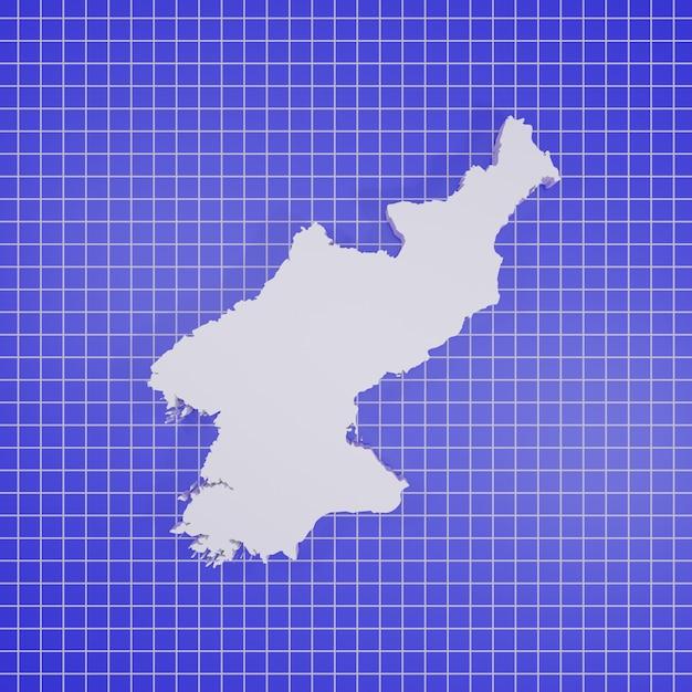 Carte Du Rendu De La Corée Du Nord Photo Premium