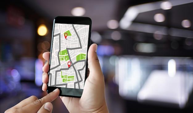 Carte Gps Pour L'itinéraire Connexion Réseau De Destination Localisation Carte Routière Avec Gps Icônes Naviga Photo Premium